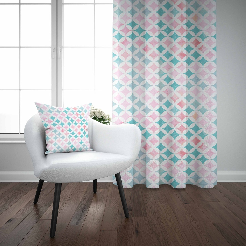 Else Gray Pink Tiles Watercolor Geometric Nordec 3d Decor Print Living Room Bedroom 1 Panel Set Curtain Combine Gift Pillow Case