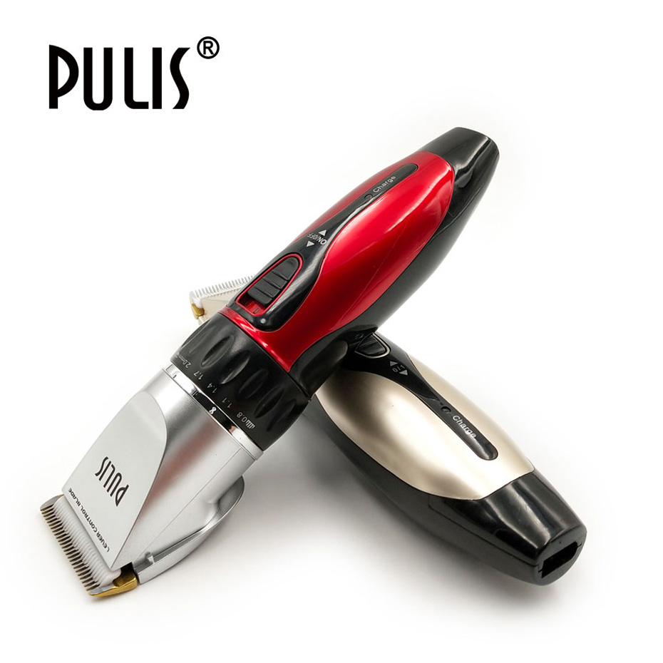 PULIS Professional Hair Clipper 100-240V Rechargeable Electric Trimmer Home Barber Haircut Machine with 4 Limit Combs Tool