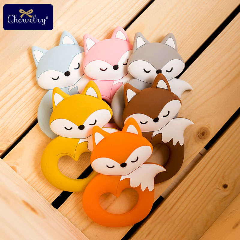1pcs Silicone Teethers Rodent Animal Silicone Fox Pendant Baby Teethers Sweet Rabbit DIY For Pacifier Chain Children Goods Toys