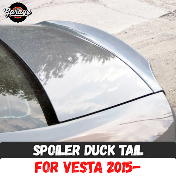 Spoiler duck tail for Lada Vesta 2015 on lid trunk ABS plastic trim accessories aerodynamic wing