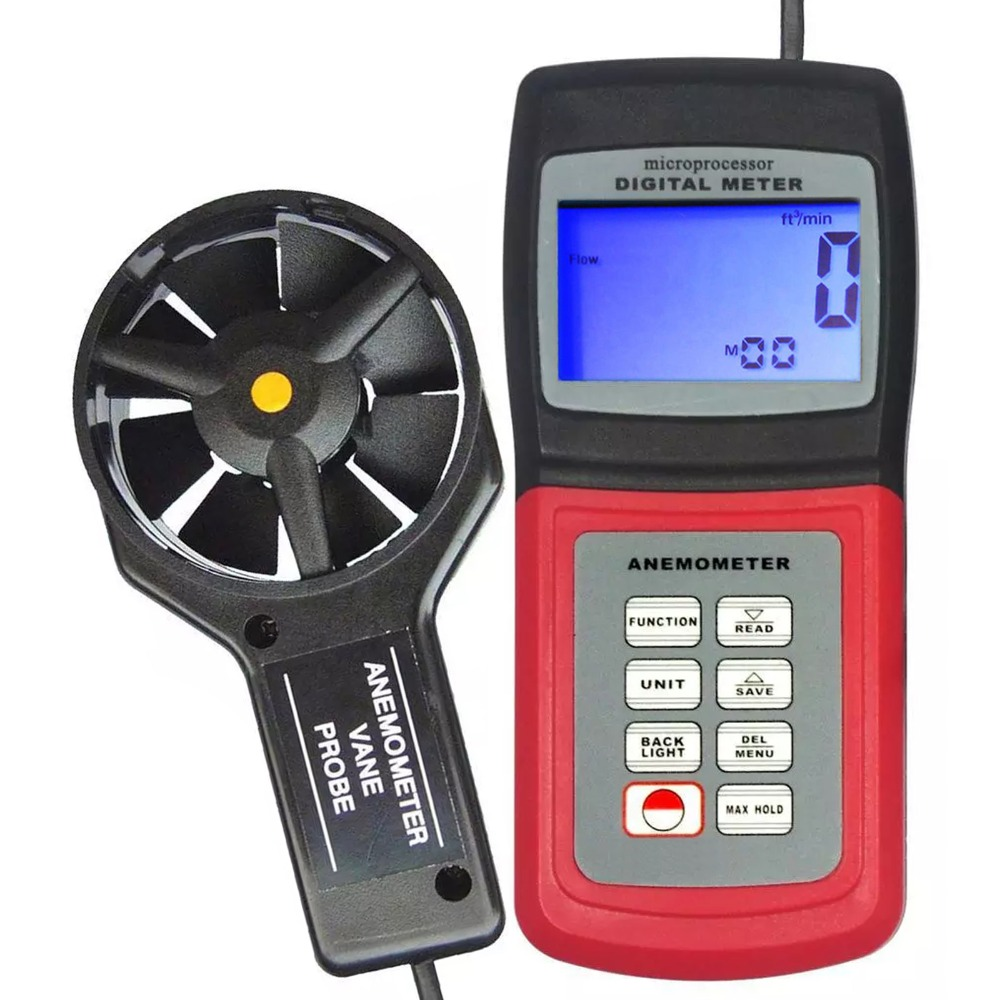 Digital Thermo Anemometer Handheld 3-Range Multi-Function Speed Air Wind Flow Temperature Velocity Beaufort Scale 24 Group Data digital 3 cup type sensor probe multi function thermo anemometer 80% rh air weather meter wind direction air speed temperature