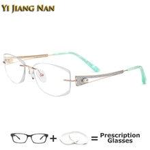 Роскошные очки с алмазной огранкой без оправы титановые женские