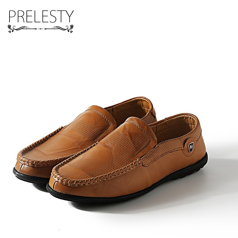 Prelesty Autumn Genuine Leather Mens Loafers Handmade Moccasins Cow Leather Men Flats Slip On Male Driving Boat Shoes prelesty big size spring autumn breathable men luxury brand driving shoes handmade leather loafers casual slip on footwear male