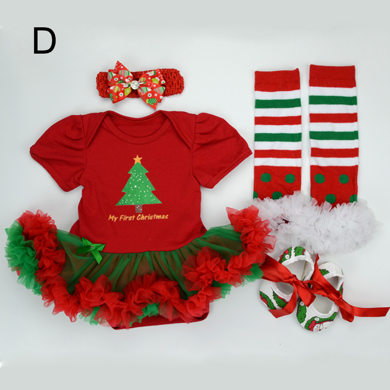 Baby 4pcs Clothing Sets Newborn Christmas Outfit Tutu Romper Dress Infant Bebe Girls Birthday Costumes Socks Headband Shoes 2017 newborn baby boy girls clothing 3pcs sets infant toddle girls romper pants hat snuggle on this muggle baby outfit set