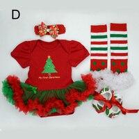 Baby 4pcs Clothing Sets Newborn Christmas Outfit Tutu Romper Dress Infant Bebe Girls Birthday Costumes Socks