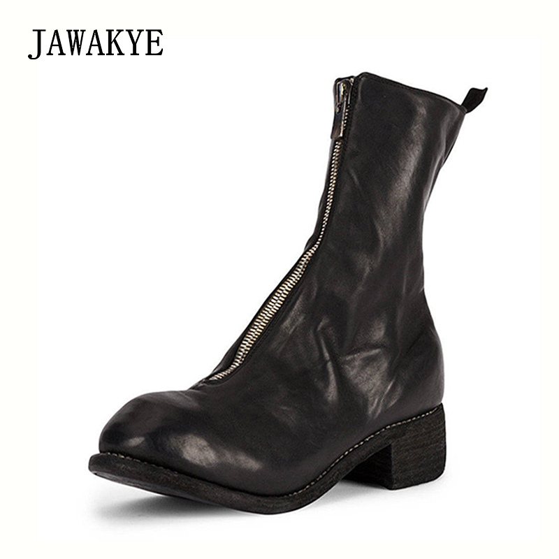 2018 autumn winter handmade Ankle boots Women front zipper Retro Genuine leather Square thick Heel Short Combat Martin boots 2018 autumn winter handmade Ankle boots Women front zipper Retro Genuine leather Square thick Heel Short Combat Martin boots
