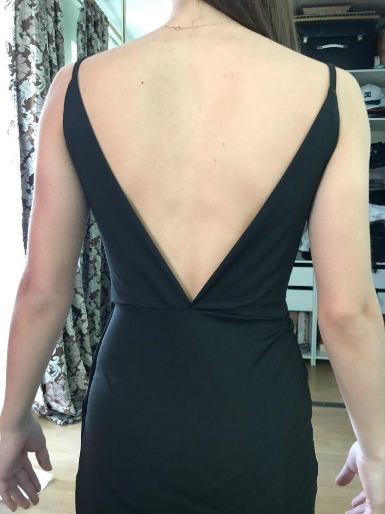 Sexy Black Overlap Split Front Backless Bodycon Summer Midi Cami Dress Women Straps V Neck Wrap Sheath Club Slim Dresses photo review