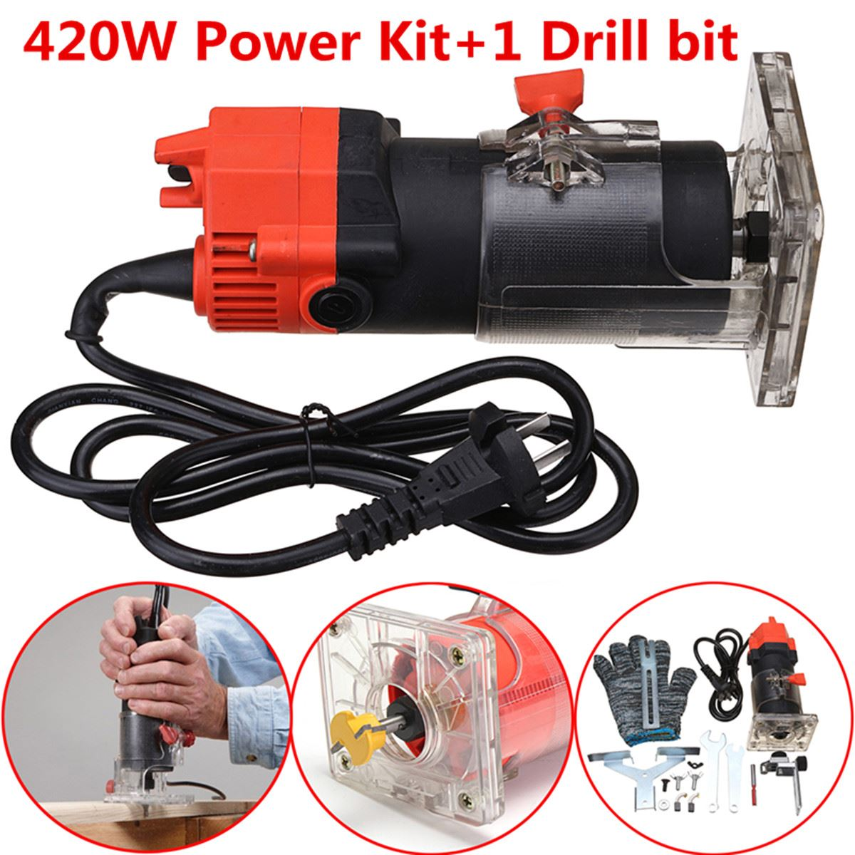 420W 220V Electric Edge Trimmer 30000RPM Multi Function Woodworking Machine Wood Edge Cutter/Router Set + Wrench Gloves cukyi household electric multi function cooker 220v stainless steel colorful stew cook steam machine 5 in 1
