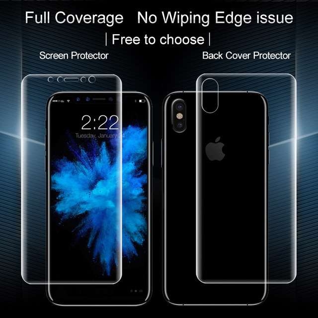 new york 51261 e296a US $8.35 |IMAK Hydrogel Film For Apple iPhone X Screen Protector Full  Coverage Front Back Soft Screen Protector For funda iphone x Film-in Phone  ...