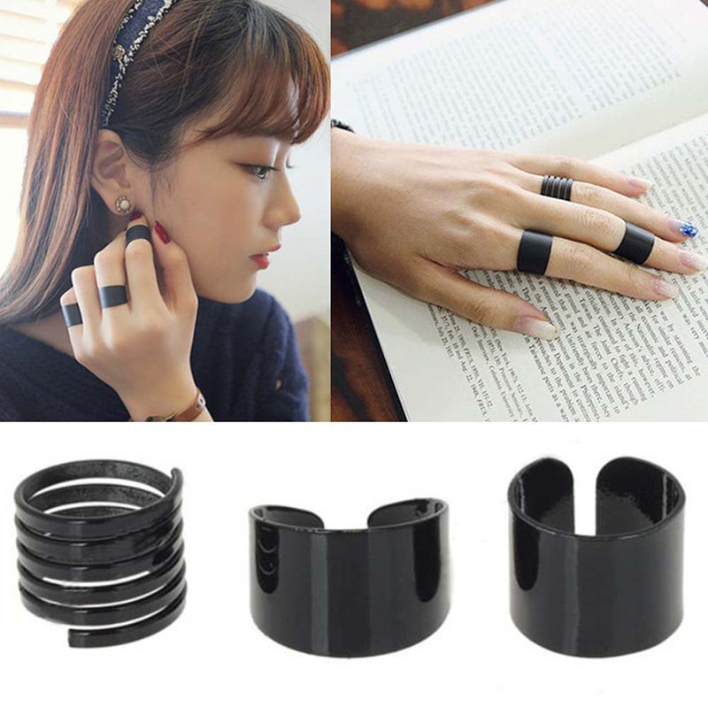 3Pcs/Set Black Open Ring Top Of Finger Ring Over The Midi Tip Finger Above The Knuckle Ring Punk Rings Women Fashion Jewelry ...