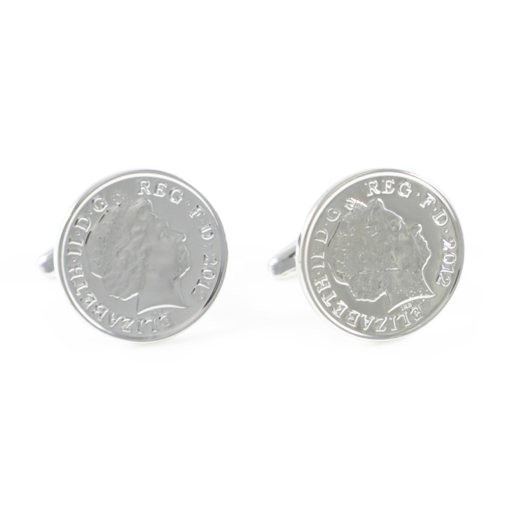 Cuff-Links Penny Father's-Day-Gift Silver-Tone British