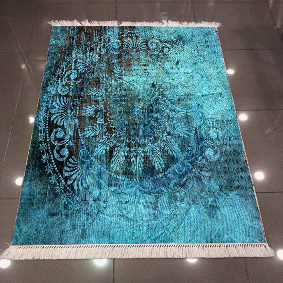 Else Green Black Ethnic Ottoman Turkish Vintage 3d Print Microfiber Anti Slip Back Washable Decorative Kilim Area Rug Carpet