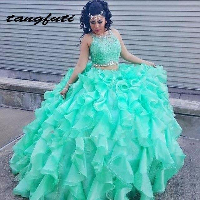 cf669692b Quinceanera Dresses Long Two 2 Piece Dress Ball Gown Long Ruffles Sweet 16 Dresses  vestidos de 15 anos Quinceanera Dress