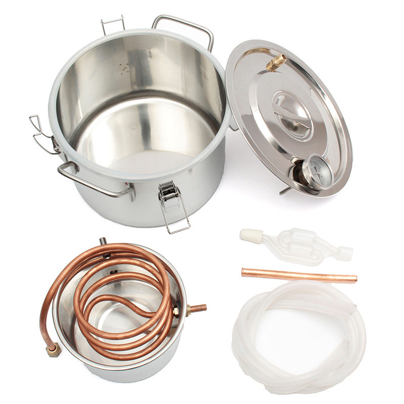 DIY 2GAL/8L Copper Moonshine Ethanol Alcohol Whisky Water Distiller Cooler Stainless Boiler Thumper Keg Bar Brew Tool Kit