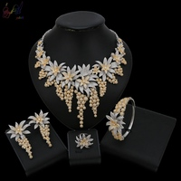 Yulaili Cubic Zirconia Stones American Stone Luxury Dubai Gold Color Silver Mix Bridal Wedding Necklace Jewelry Sets For Women