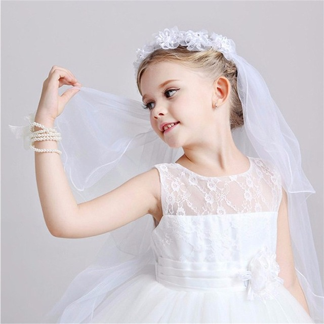 bdd62f21eb US $3.9 70% OFF|Girls First Communion Veils Headband White Floral Wreath  Wedding Veil with Comb Girls White Catholic Religious Hair Accessories -in  ...