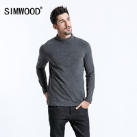 SIMWOOD 2019 Brand Long Sleeve T Shirts Men Fashion Turtleneck Slim Fit Cotton Tops Causal Warm Pullovers Free Shipping 180606