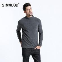 SIMWOOD 2019 Marka Uzun Kollu T Shirt Erkek Moda Balıkçı Yaka Slim Fit pamuklu üst giyim Rahat Sıcak Kazaklar Ücretsiz Kargo 180606