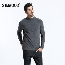 SIMWOOD 2019 marque à manches longues t shirts hommes mode col roulé Slim Fit couverture en coton casual chaud pulls livraison gratuite 180606