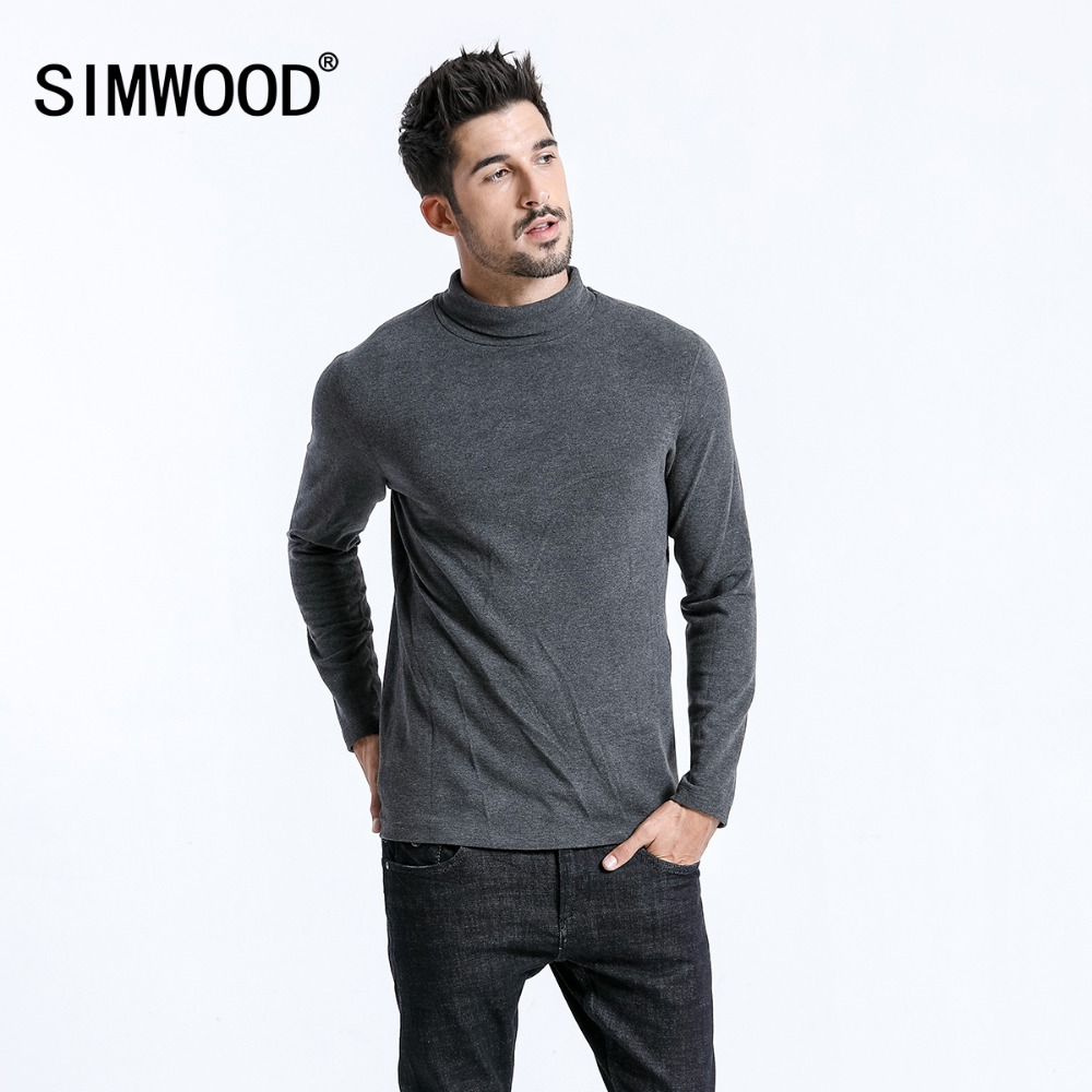 SIMWOOD 2019, брендовые Футболки с длинным рукавом, мужские модные облегающие хлопковые топы с высоким воротом, повседневные теплые пуловеры, бесплатная доставка 180606