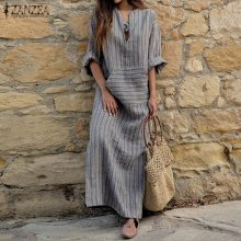 Фотография ZANZEA Women Striped Maxi Dress 2017 Autumn Casual Loose Sexy V Neck Long Sleeve Floor-length Dress Vestidos Plus Size Oversized