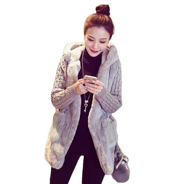 99a9298ef0244 Женская толстовка, пушистая куртка из искусственного меха, теплая зимняя  верхняя одежда