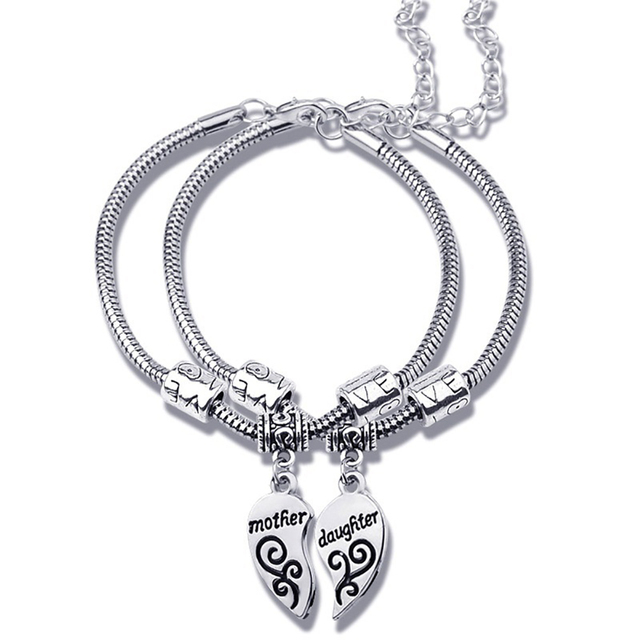 2pcs Matching Heart Mother Daughter Bracelets Bangles Pendant Jewelry Gift