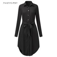 Spring Belted Blouse Shirt Dress Women Long Sleeve Elegant Plain Midi Dresses Female Oversized Retro Casual