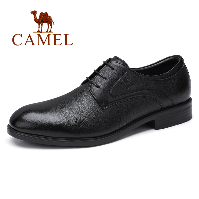 CAMEL New Men Dress Business Shoes Genuine Leather Office Casual Comfortable Soft Wrinkled Leather Lightweight Resistant