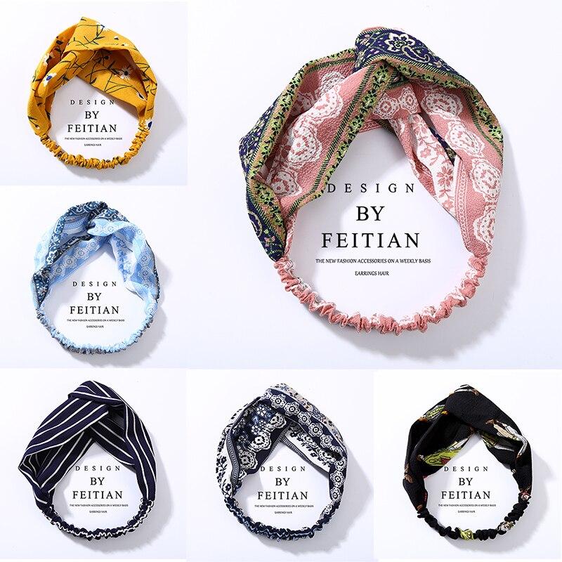 Top Knotted Headband Turban Elastic Twist Hairbands Floral Hair Accessories for Women Girls 2019 Striped Plaid   Headwear   Bandanas