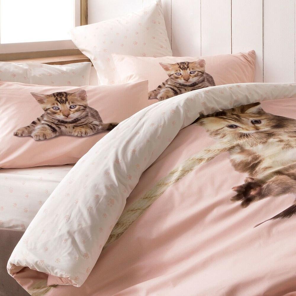 % 100% Pamuk 3D Tam Çift Kediler Baskılı Yatak Yorgan/Yorgan yatak örtüsü seti 4 Adet