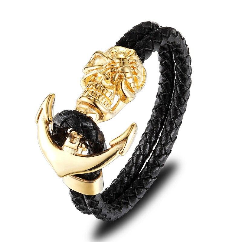 Bracelet en cuir ancre crâne  5