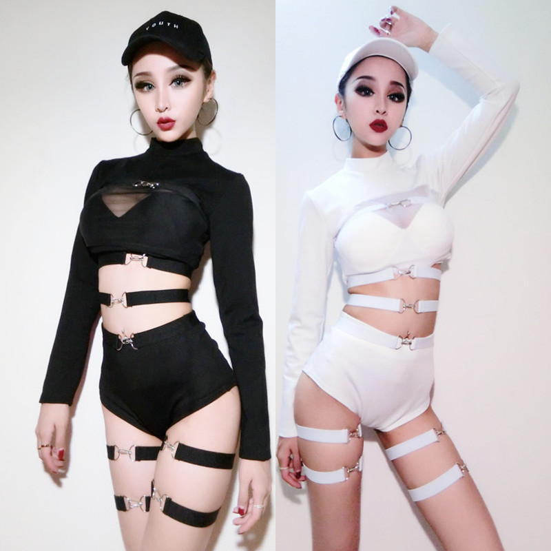 Sexy Girls Pub DJ Dance Black Costume Jazz Pole Dance Stage White Costume Performances 2 Pieces Set Club Rave Clothes DWY310