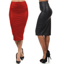 High waist Leather Skirt M L XL Black Red sexy Pencil skirts middle long Casual mermaid skirt party bar club travel Slim Skirt(China)