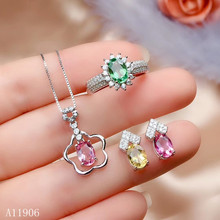 KJJEAXCMY boutique jewelry 925 sterling silver inlaid natural gemstone multicolor tourmaline female ring earrings pendant neckla natural multicolor tourmaline pendant s925 silver natural gemstone pendant necklace trendy round fireball women party jewelry