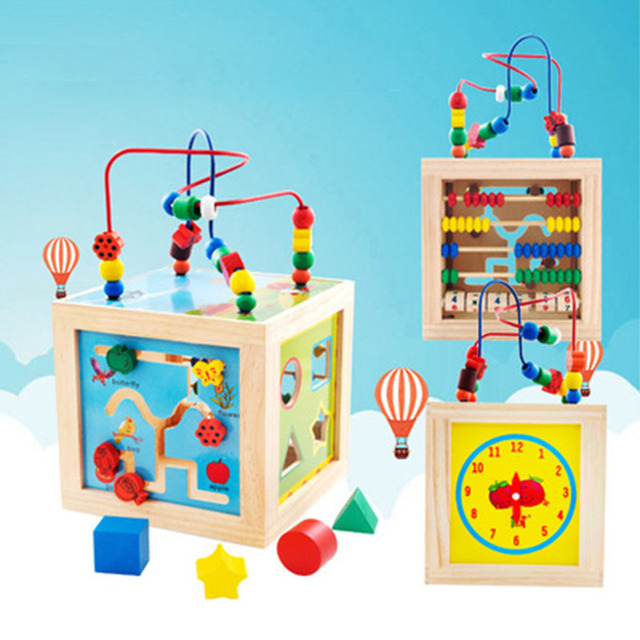 Baby Colorful Wooden Mini Around Beads Wire Maze Education ...