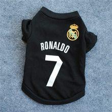 Новое прибытие Ronaldo T Shirt Football 2018 Worldcup Black Dog T Shirt Tee No. 7 Футбольные принадлежности для животных Unisex Casual Fashion E