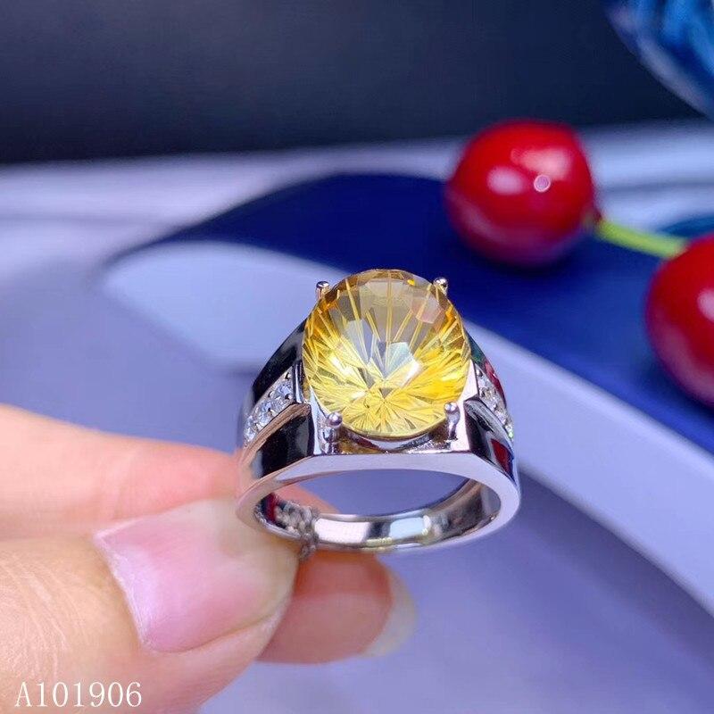 KJJEAXCMY boutique bijoux 925 en argent sterling incrusté naturel feux d'artifice citrine pierre gemme hommes anneau soutien revue nouveau luxe