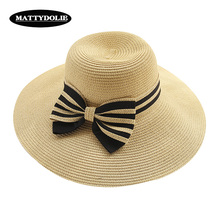 MATTYDOLIE Beach hat sunshade straw hat wide side big hat female summer folding sunscreen holiday seaside holiday bow sun hat cool summer knotted rope casual holiday travelling sunscreen sun hat for women