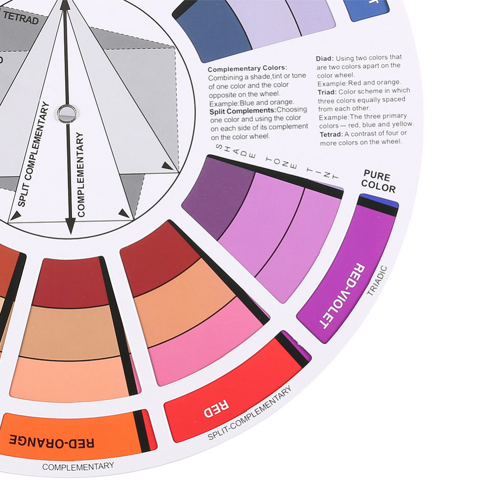 Mix Guide Round Tattoo Nail Polish Gel Pigment Color Palette Wheel