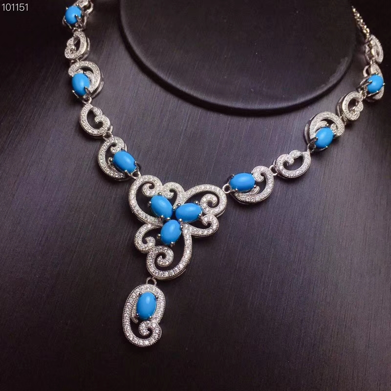 KJJEAXCMY boutique jewelry,925 Silver-inlaid Natural Turquoise Jewelry Ladys Large Necklace Support DetectionKJJEAXCMY boutique jewelry,925 Silver-inlaid Natural Turquoise Jewelry Ladys Large Necklace Support Detection