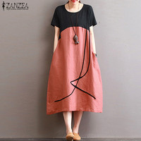 ZANZEA Women Oversized Stiching O Neck Short Sleeve Linen Cotton Midi Dress Casual Loose Party Beach
