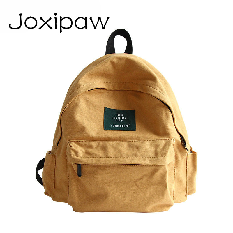 Japan Solid Canvas Backpack Women Small Casual Back Pack Girls School Bag Daily Backpack Mochila nbxq86 Joxipaw