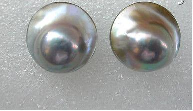 gorgeous big 22mm round gray south sea mabe pearl earrings new>>>girls jades Free shipping
