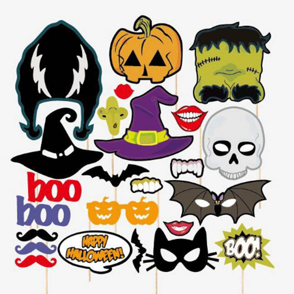 2017 photo property 24pcs halloween photo props decoration birthday party kids favors fun mask photography event - Halloween Photography Props