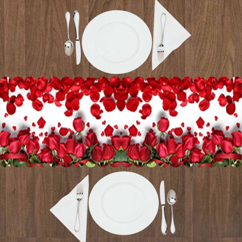Altro Pavimento Bianco Rosso Rose Floreale Fiori Foglie Amore 3d Modello Di Stampa Da Tavolo Moderna Runner Per La Cucina Sala Da Pranzo Tovaglia Avere Sia La Qualità Della Tenacia Che La Durezza