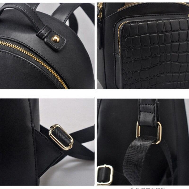 Cuir véritable femmes Mini sacs à dos noir avec balle moelleuse dames petits sacs à dos mignons voyage sac à dos Mochila Feminina rugzak - 5