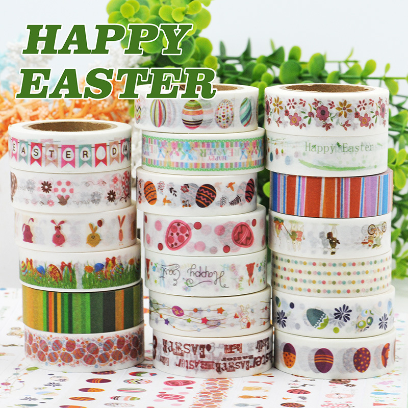 (5 pieces/lot) Happy Easter Washi Tape Masking Tape DIY Scrapbooking Sticker 15MM*10M 5 pieces lot ixfk150n30p3