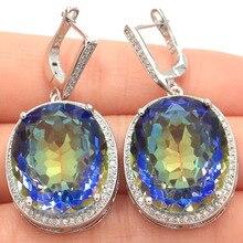 Big 17.5g Oval Gemstone 22x18mm Fire Rainbow Mystic Topaz White Cubic Zirconia Womans Party Silver Earrings 40x20mm