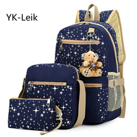 Affordable 3piece Sets Female Package 2016 Korean College Style Rucksack Bear Fashion Shoulder Bags Computer Bags